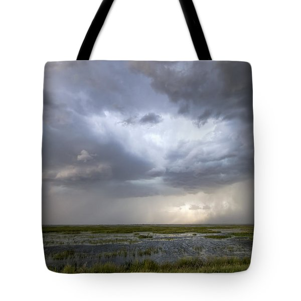 Tote Bag featuring the photograph Thunderstorm Over Cheyenne Bottoms by Rob Graham