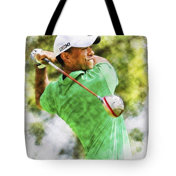 Tiger Woods Hits A Drive  Tote Bag
