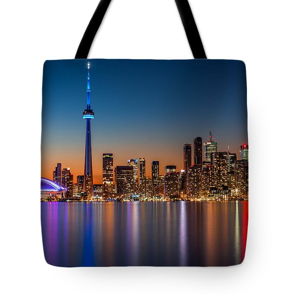Tote Bag featuring the photograph Toronto Skyline At Dusk by Mihai Andritoiu