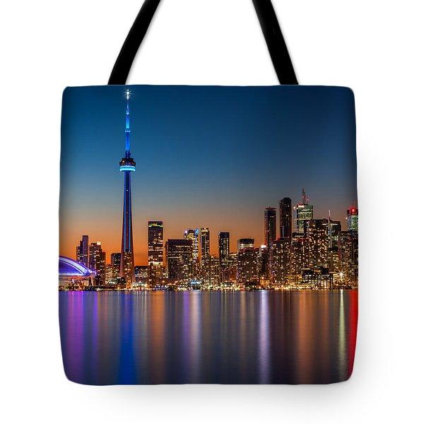 Toronto Skyline At Dusk Tote Bag