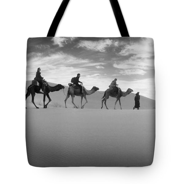 Tourists Riding Camels Tote Bag