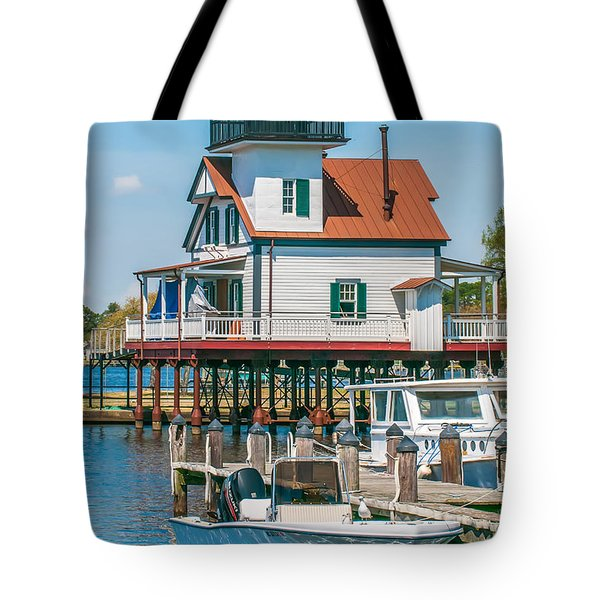 Town Of Edenton Roanoke River Lighthouse In Nc Tote Bag