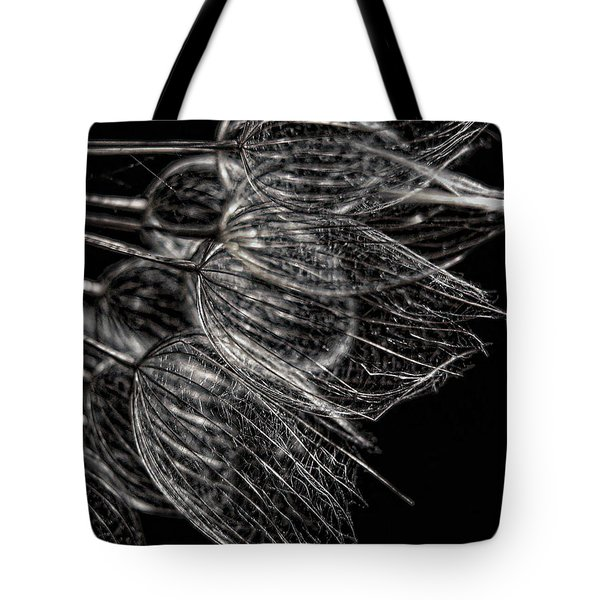 Silver Flowers Tote Bag