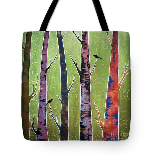 Trees On Green Tote Bag