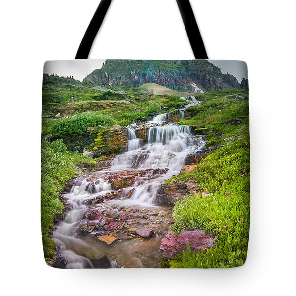 Triple Falls Stream Glacier National Park Tote Bag by Rich Franco