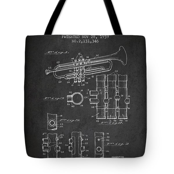 Trumpet Patent From 1939 - Dark Tote Bag