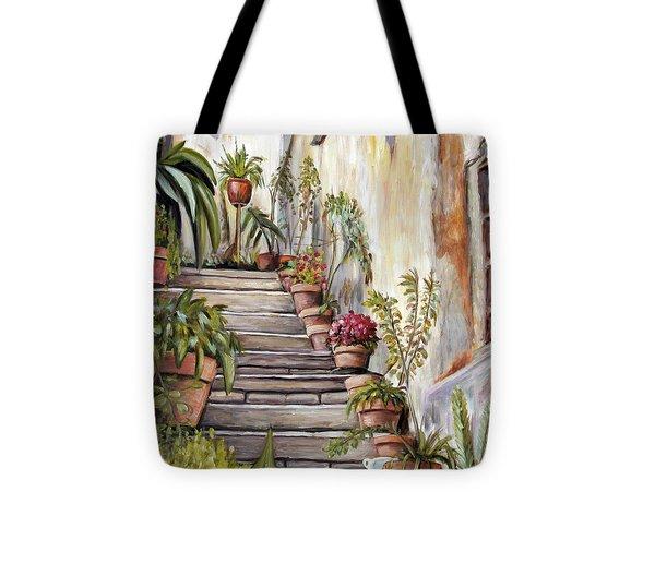Tuscan Steps Tote Bag by Melinda Saminski