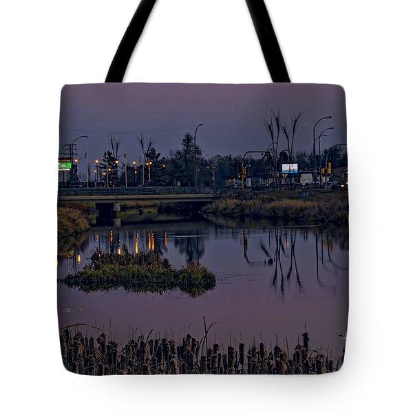 River At Dusk. Tote Bag