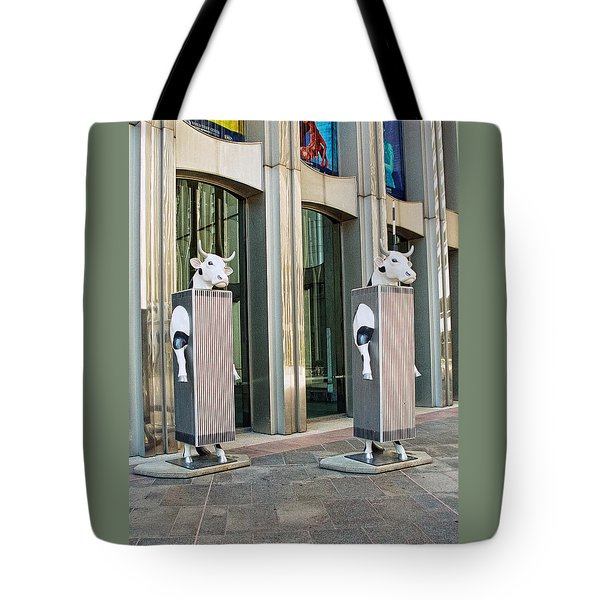 Cow Parade N Y C 2000 - Twin Cowers Tote Bag by Allen Beatty