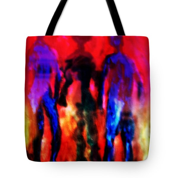 Two Real Men And A Shadow Woman Between Them  Tote Bag