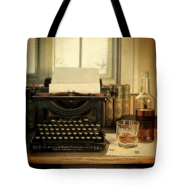 Typewriter And Whiskey Tote Bag by Jill Battaglia