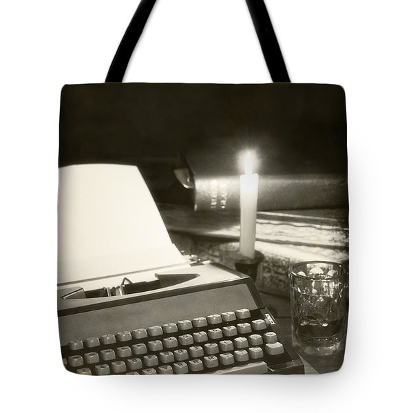 Typewriter By Candlelight Tote Bag by Amanda Elwell