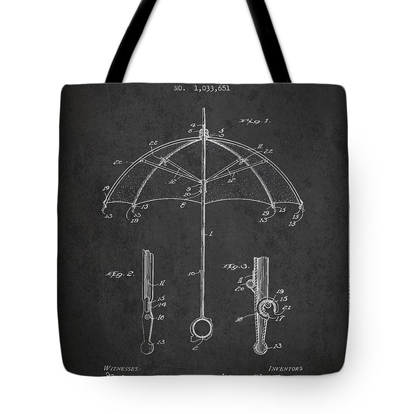 Umbrella Patent Drawing From 1912 Tote Bag by Aged Pixel