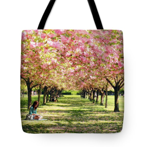 Under The Cherry Blossom Trees Tote Bag by Nina Bradica