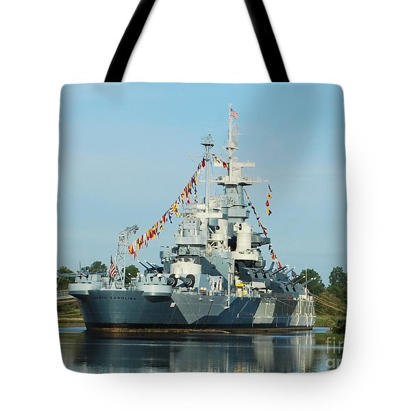 Uss North Carolina Battleship Tote Bag
