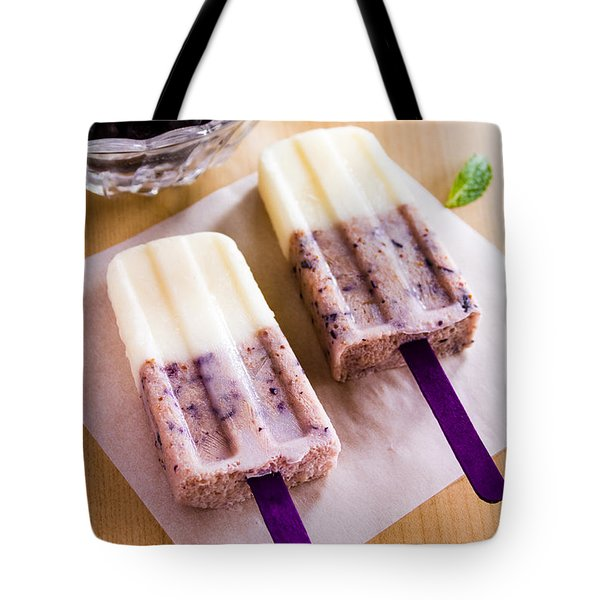 Vanilla And Blueberry Popsicles Tote Bag by Teri Virbickis