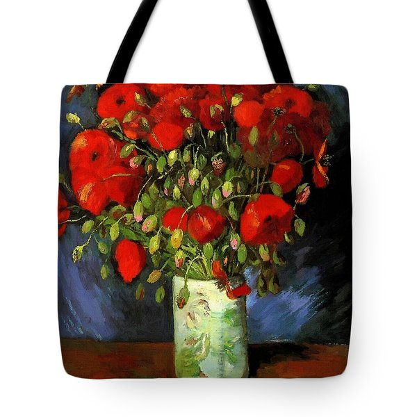 Vase With Red Poppies Tote Bag