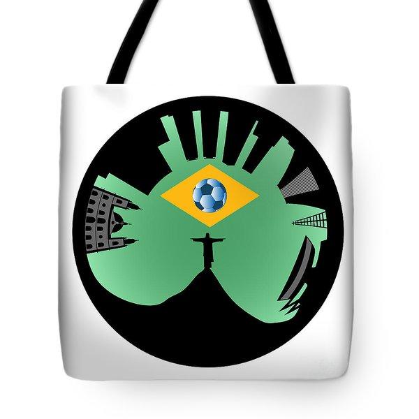 Vector Rio De Janeiro Skyline Tote Bag by Michal Boubin