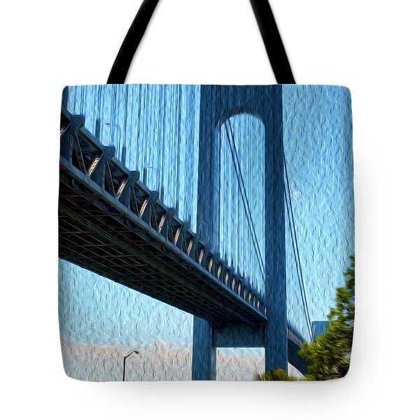 Verrazano Bridge Tote Bag by Boris Mordukhayev
