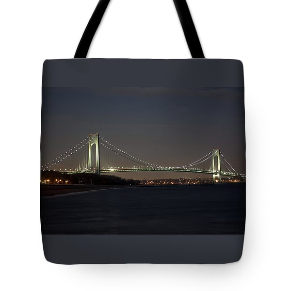 1 Verrazano Narrows Bridge At Twilight Tote Bag
