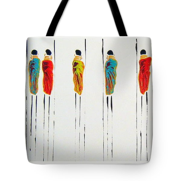 Vibrant Masai Warriors - Original Artwork Tote Bag