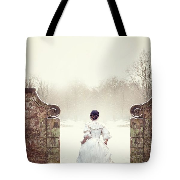 Victorian Woman In Snow Tote Bag