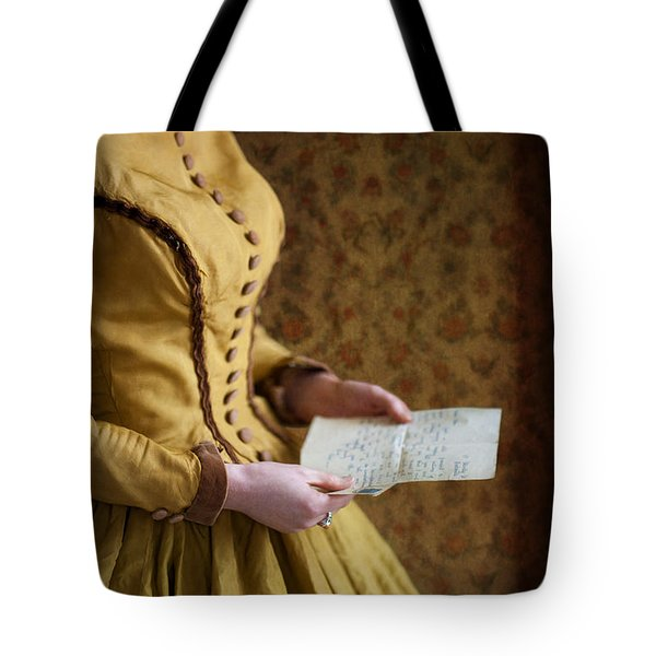 Victorian Woman Reading A Love Letter Tote Bag by Lee Avison
