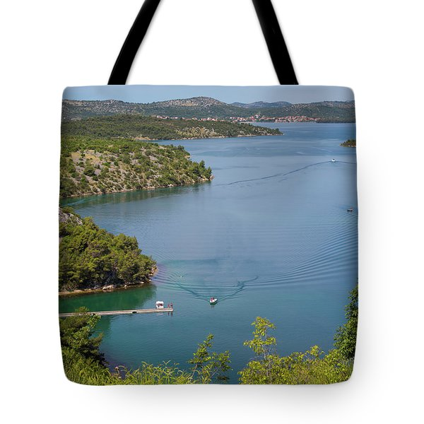 View Down From Sibenik Or Krka Bridge Tote Bag
