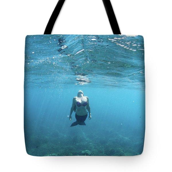 View Of Mermaid Swimming In Ocean Tote Bag