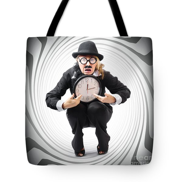 Vintage Business Man Stuck With Clock. Time Crunch Tote Bag