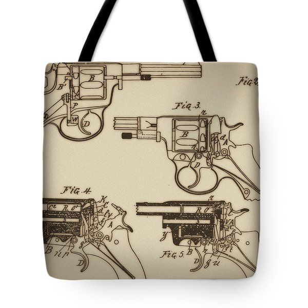 Vintage Colt Revolver Drawing  Tote Bag by Nenad Cerovic