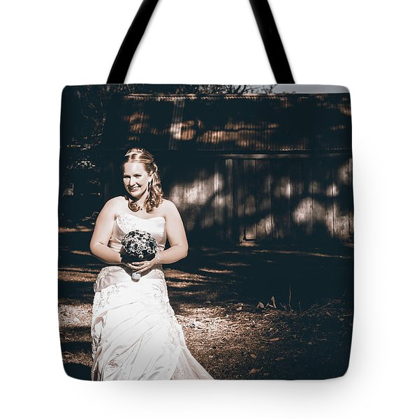Vintage Elegant Bride At Rural Australian Wedding Tote Bag