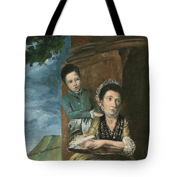 Tote Bag featuring the painting Vintage Mother And Son by Mary Ellen Anderson