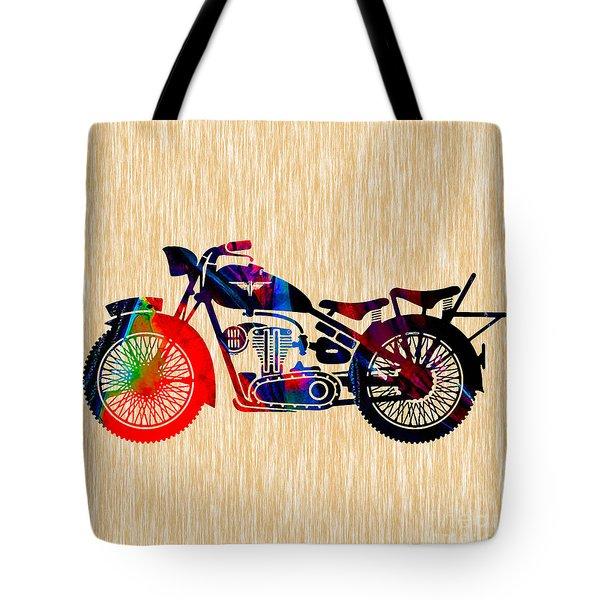 Vintage Motorcycle Tote Bag by Marvin Blaine