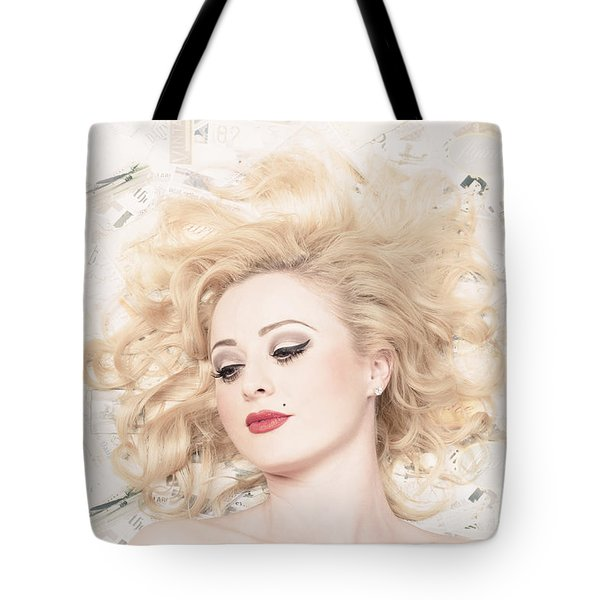 Vintage Pinup Girl With Classic Blond Hair Style Tote Bag