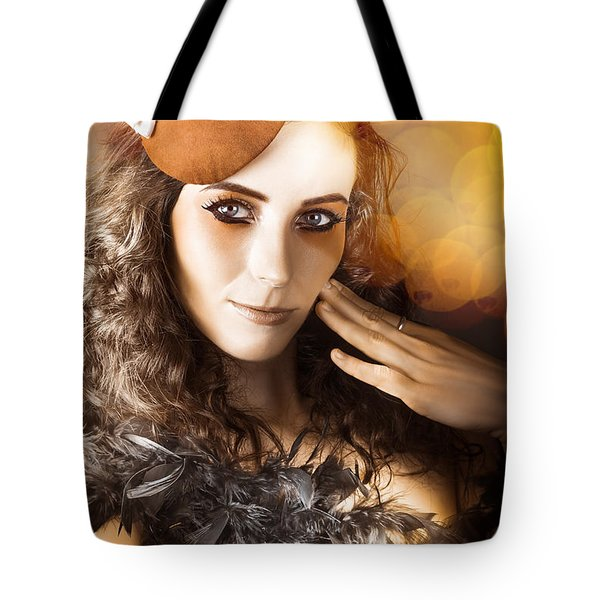 Vintage Style Actress Performing In French Beret Tote Bag