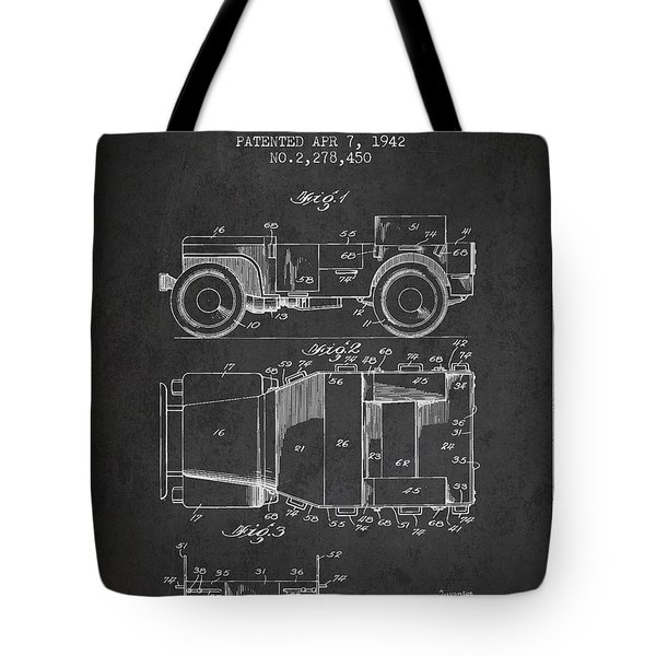 Vintage Willys Jeep Patent From 1942 Tote Bag