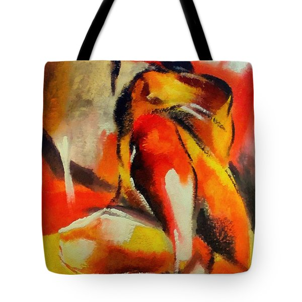 Tote Bag featuring the painting Waiting by Dragica  Micki Fortuna