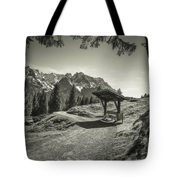 walking in the Alps - bw Tote Bag by Hannes Cmarits