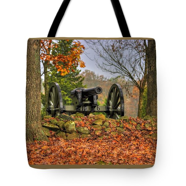 Tote Bag featuring the photograph War Thunder - The Charlotte North Carolina Artillery Grahams Battery West Confederate Ave Gettysburg by Michael Mazaika