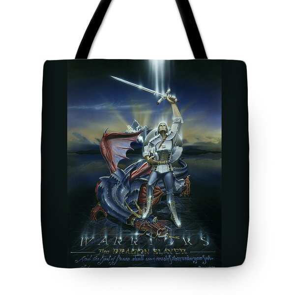 Warriors Dragon Slayer Tote Bag by Cliff Hawley