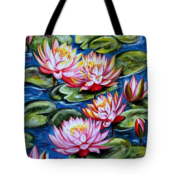 Tote Bag featuring the painting Water Lilies by Harsh Malik