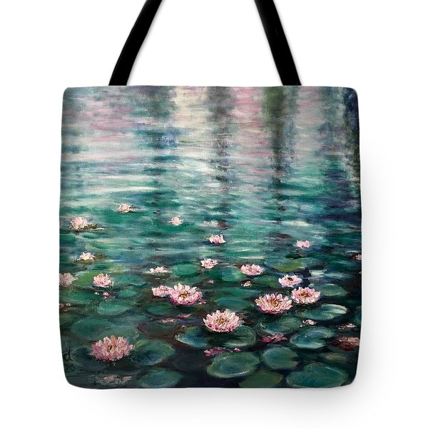 Tote Bag featuring the painting Water Lilies by Laila Awad Jamaleldin