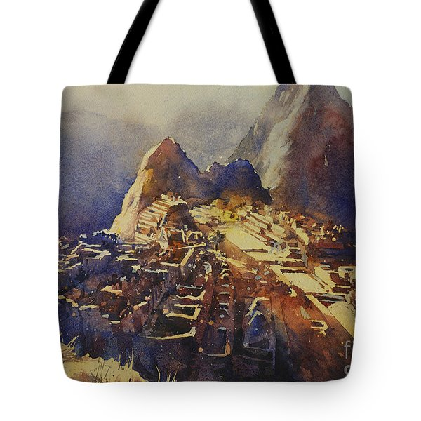 Watercolor Painting Machu Picchu Peru Tote Bag by Ryan Fox