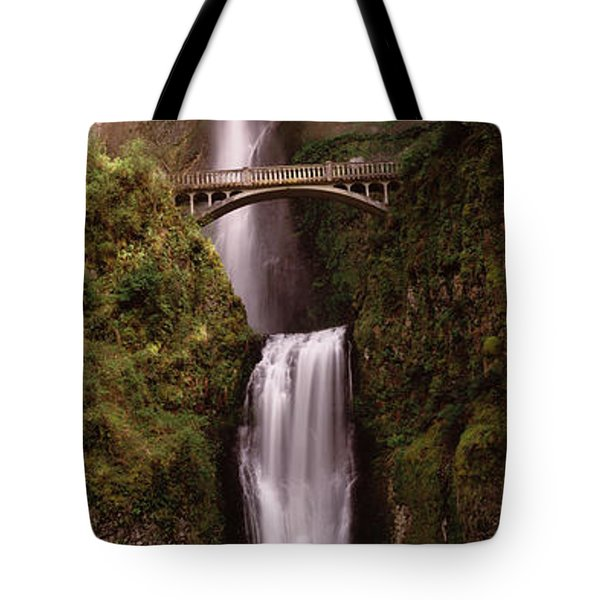 Waterfall In A Forest, Multnomah Falls Tote Bag by Panoramic Images
