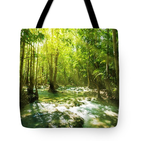 Waterfall In Rainforest Tote Bag