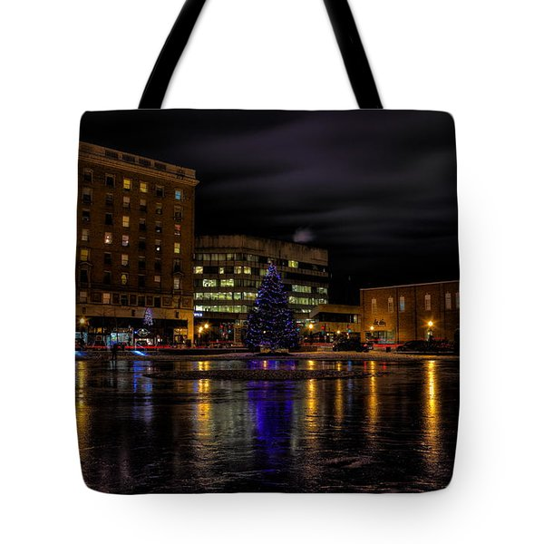 Tote Bag featuring the photograph Wausau After Dark At Christmas by Dale Kauzlaric