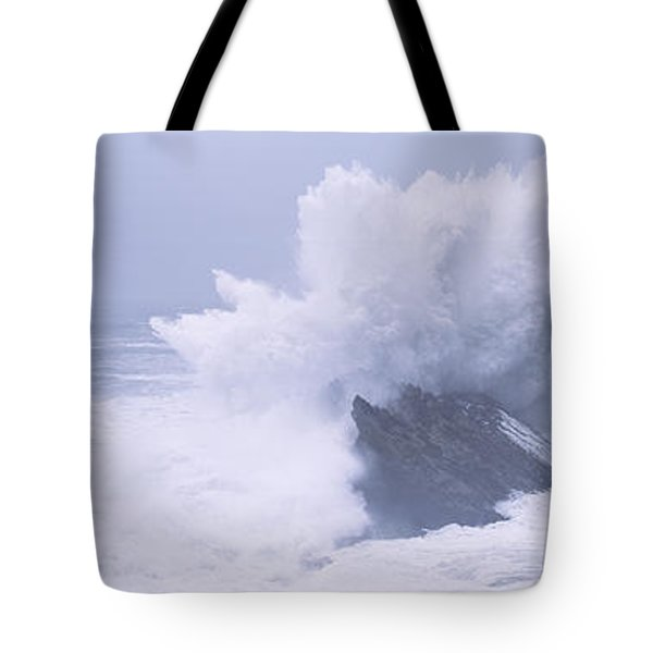 Waves Breaking On The Coast, Shore Tote Bag by Panoramic Images