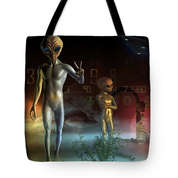 Tote Bag featuring the digital art We Come In Peace  by Shadowlea Is