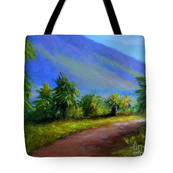 Tote Bag featuring the painting West Maui Mountains by Fred Wilson